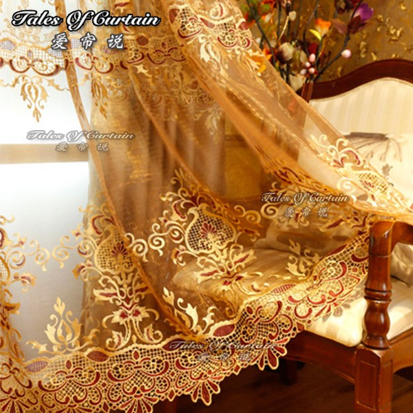 Luxury classical curtain for romantic home ready made embroidery fabric