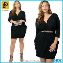 Plus Size Long Sleeve Wraped V Neck Casual Dress For Fat Women
