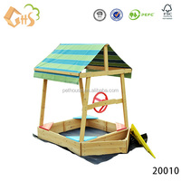Best quality funny wooden 2kids 1 sandbox for outdoor playground