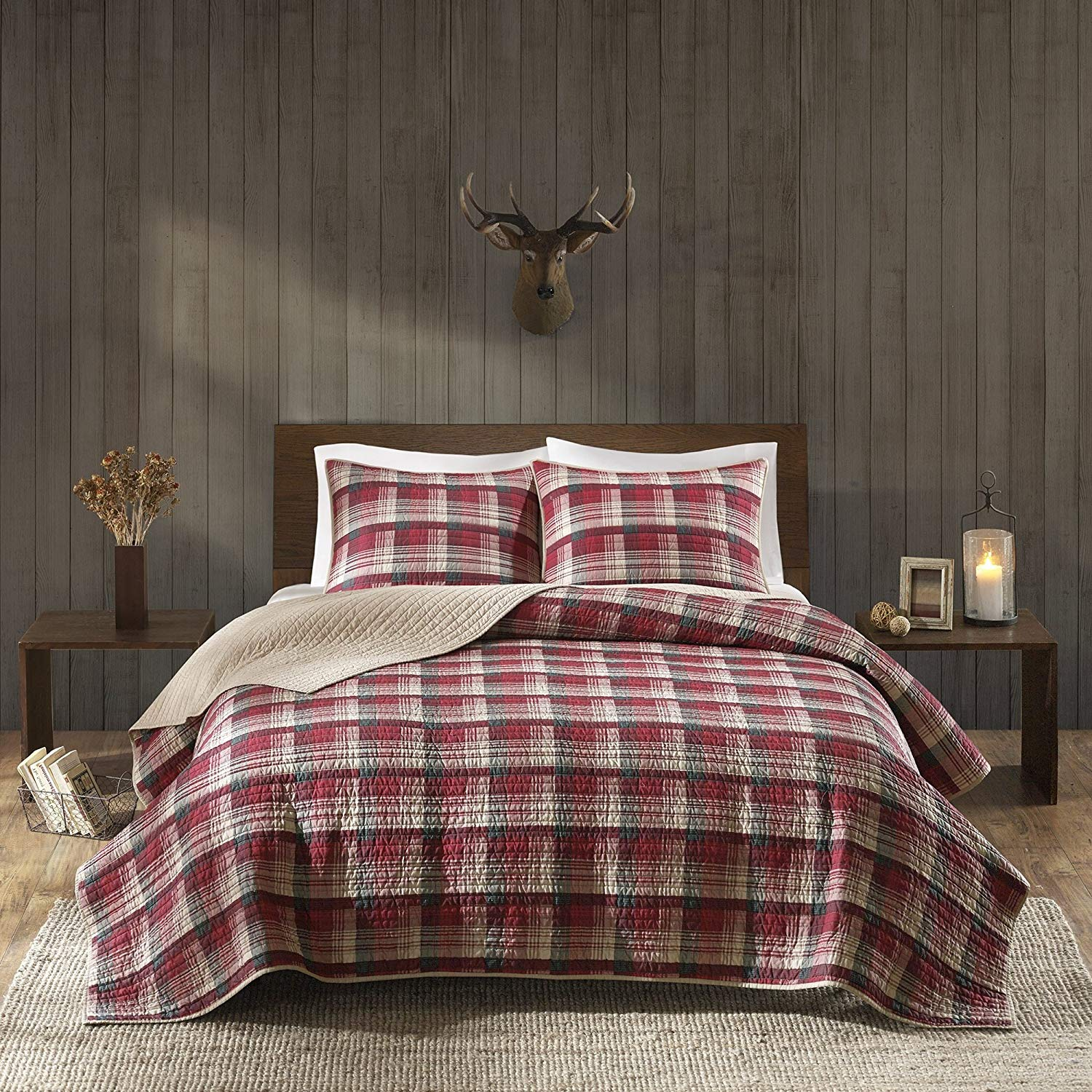 D&H 3 Piece Black Tan Red Plaid Quilt King/Cal King Set, Tartan Checked Pattern Bedding Cabin Lodge Themed Madras Checkered Squares Southwest Western Patchwork Reverse Solid Color, Cotton