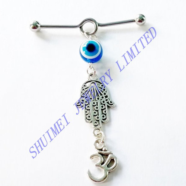 Anquite Silver Hamsa Evil Eye Surgical Steel Industrial Barbell Ear Tragus Earring Cartilage 14G Piercing Body Jewelry Fashion