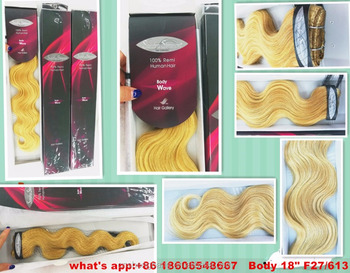 "Promotion! 100%human hair weft Body wave 18"" and 22"" 27/613,8a virgin brazilian body wave"