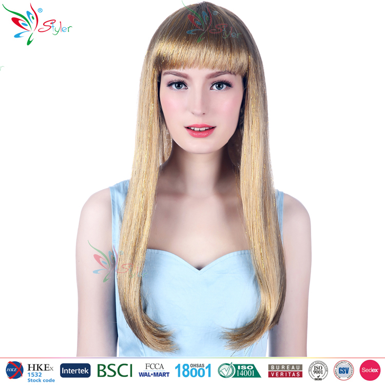 Styler Brand 2016 new fashion tinsel party wig wholesale factory long synthetic hair wig