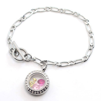 Tibetan Stainless Steel Bracelet Parts Magnetic Floating Charms Locket