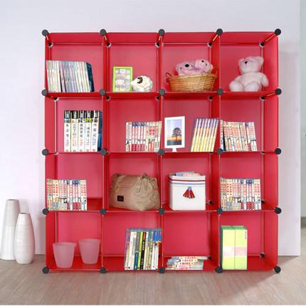 kast stijl rode diy creatieve plastic draagbare kinderen boekenkast gemakkelijk te verplaatsen