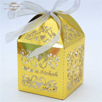 decorative christmas wedding party candy gift paper box with ribbon decoration