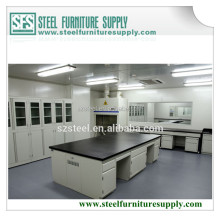 Food test lab furniture test bench Lab Island Bench with Reagent Rack, Laboratory Work Table