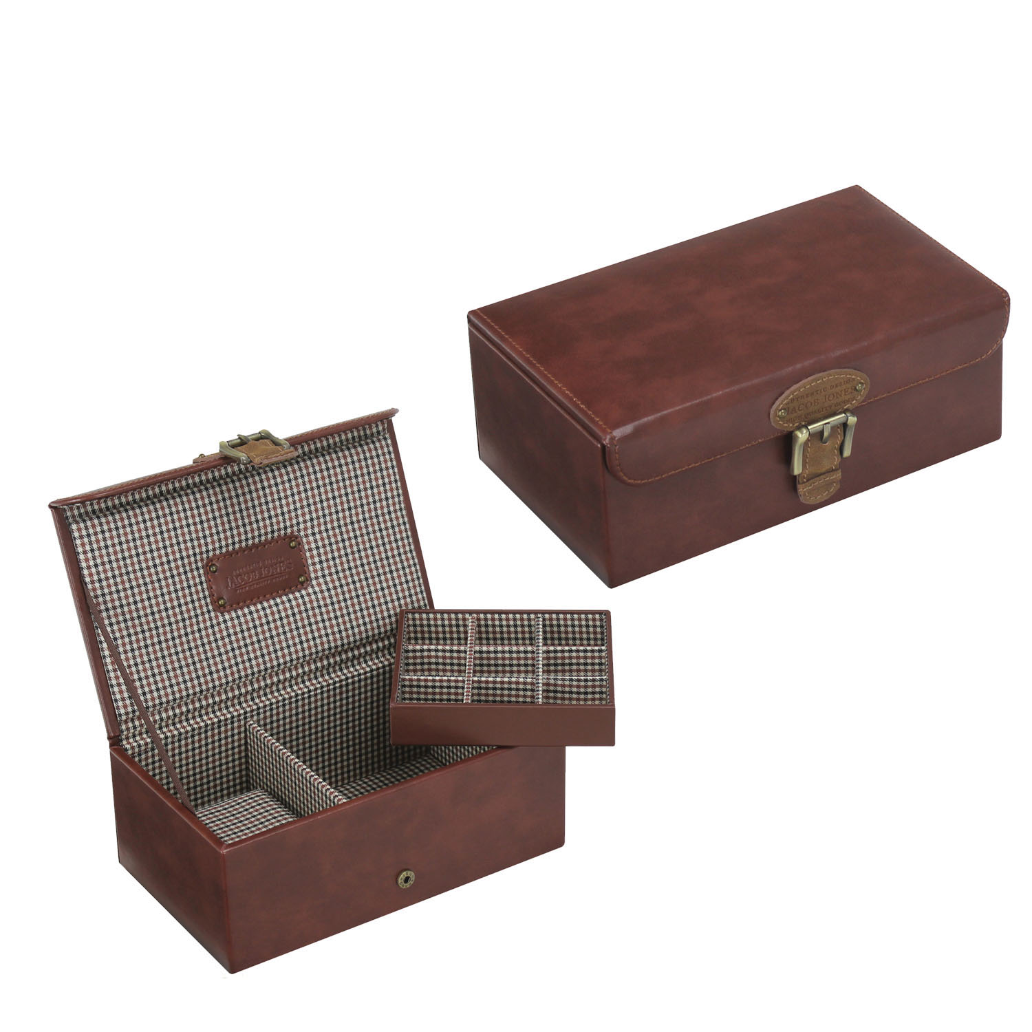 High Quality Retro PU Wooden Jewelry Box Cufflink Box