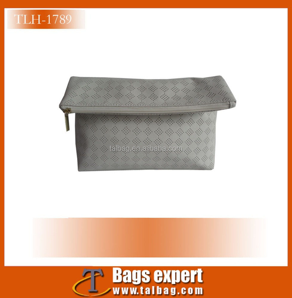 We are Sedex and Loreal audit factory foldable cosmetic bag for women made in perforated PU leather