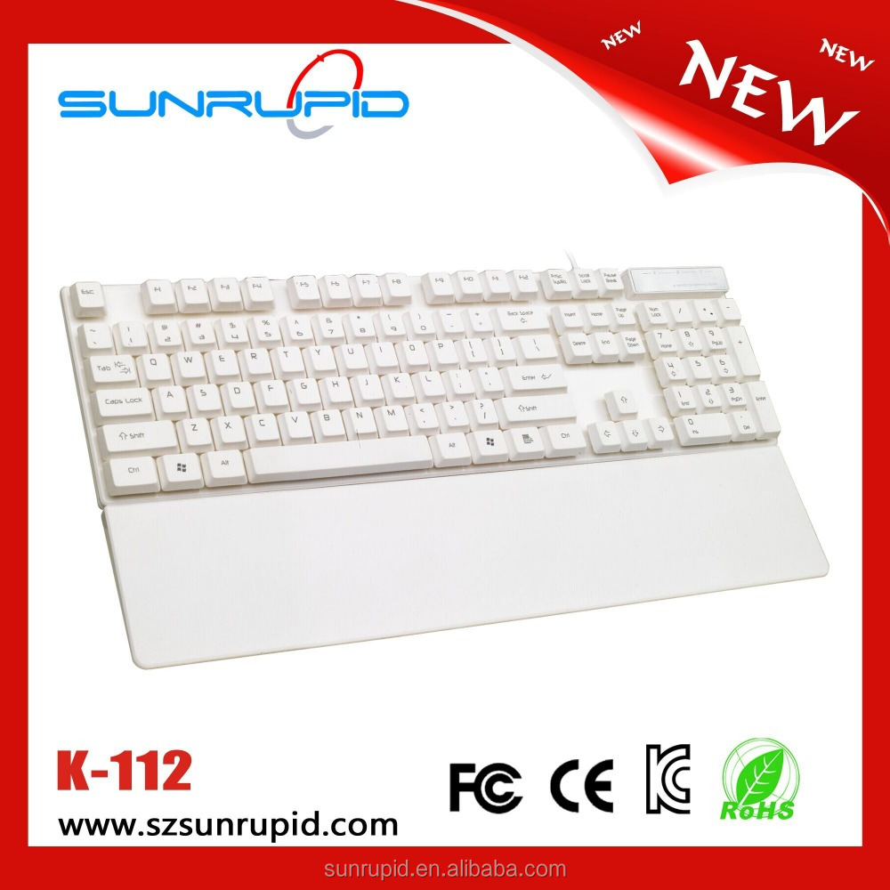 Super Slim 104 Keys Wired Keyboard with Detachable Wide Wrist/Palm Rest