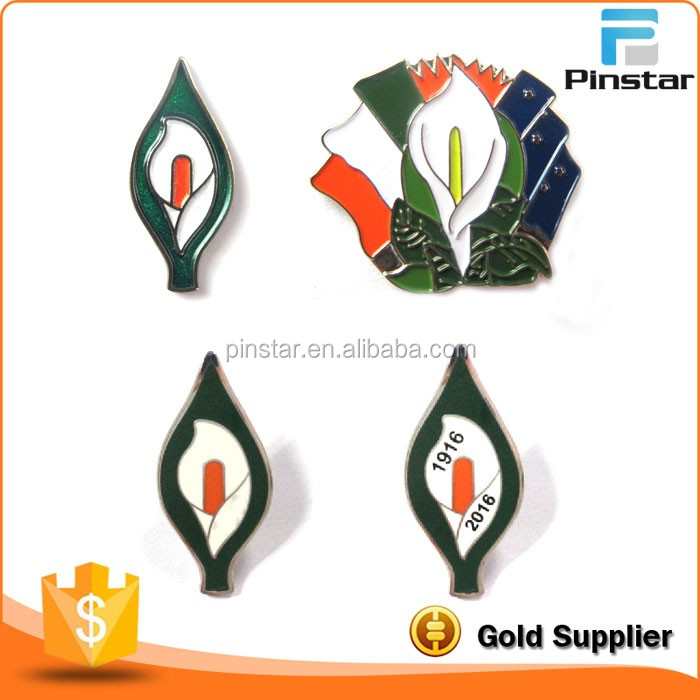 Factory Wholesale High Quality Irish 1916 Easter Rising Lily Lapel Pin