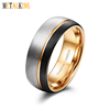 8mm Tungsten Carbide Ring for Men Wedding Band Gold Line Ring Black and Silver Brushed