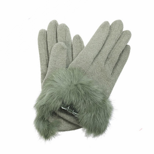 gril's fleece lined wool gloves hebei with fur