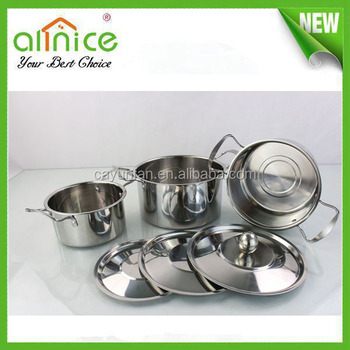 3pcs 555 Stainless Steel Stock Pot Set / Double Handle Soup Pan ...