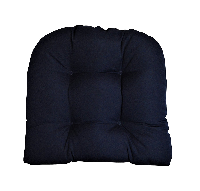 "Sunbrella Canvas Navy Large 21"" x 21"" U Shape Wicker Chair Cushion - Indoor / Outdoor Tufted Wicker Chair Seat Cushions - Blue"