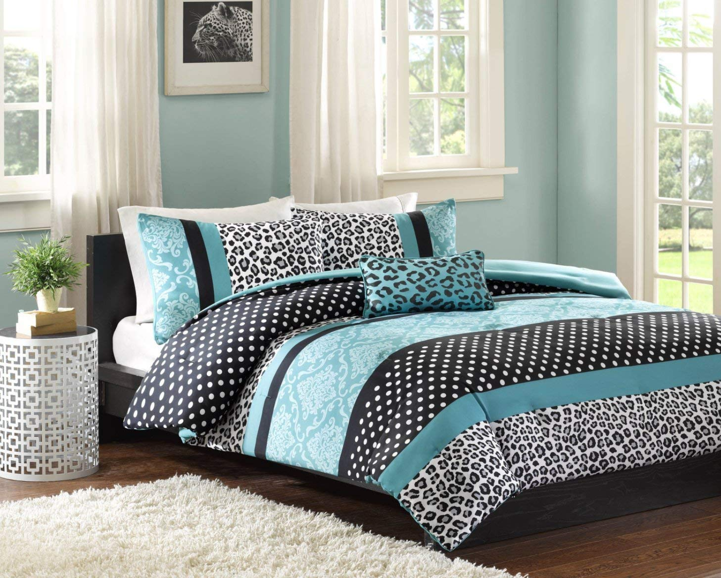 Comforter Bed Set Teen Bedding Modern Teal Black Animal Girls Bedspead Update Home (Twin XL)