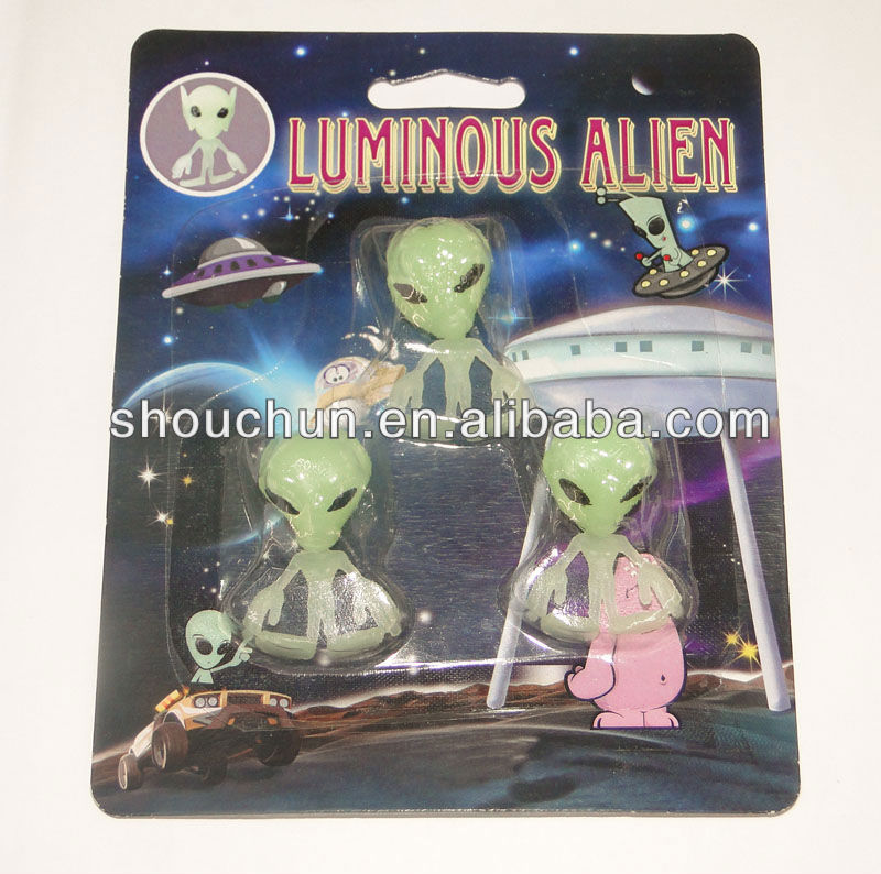 4*3cm Tpr soft material Luminous Alien toys