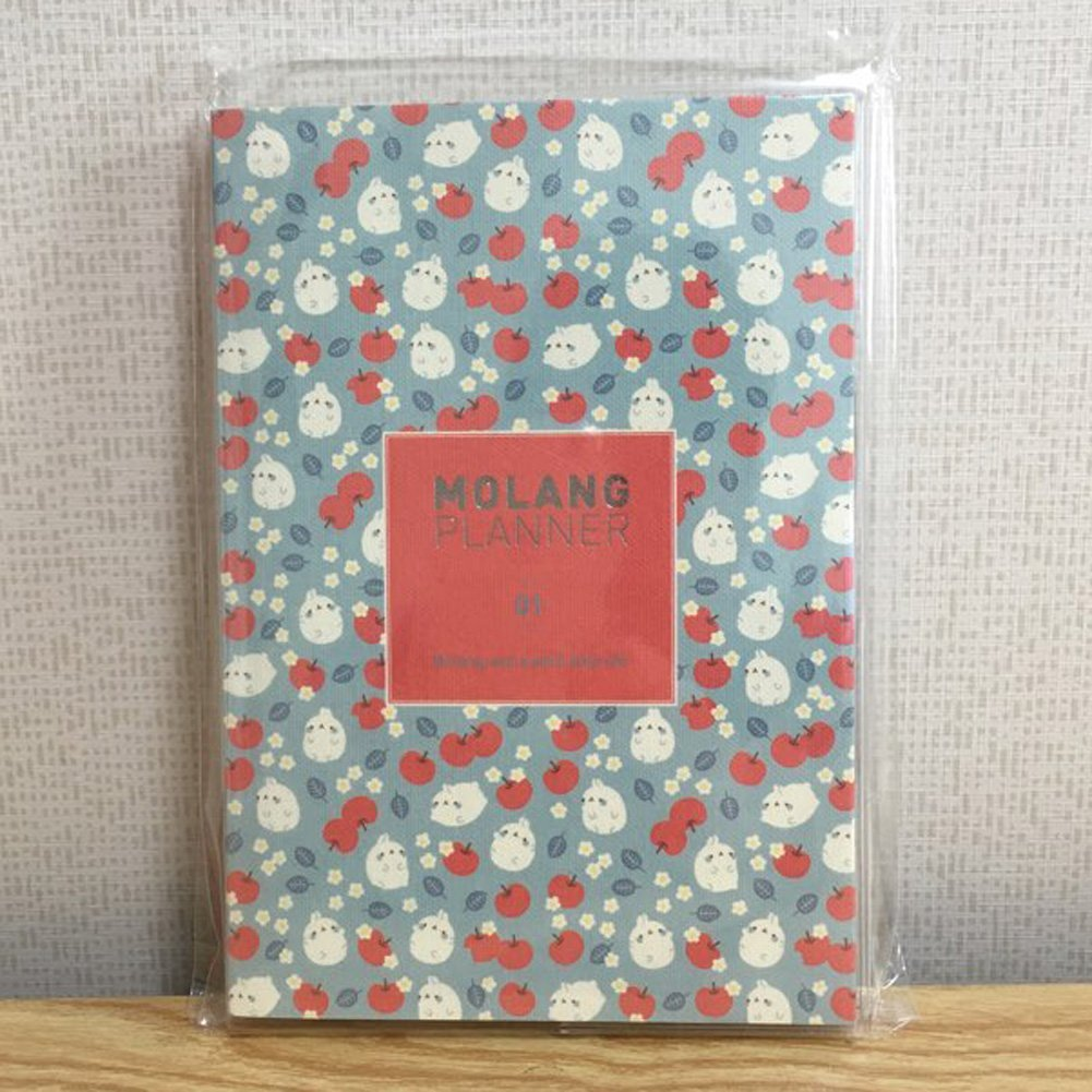 "Molang Planner Ver.1 (2016~2017) Kawaii Cute Rabbit Undated Diary Journal Scheduler Organizer Agenda 4.9"" x 7.1"" - Authentic Korea item (Red Apple)"