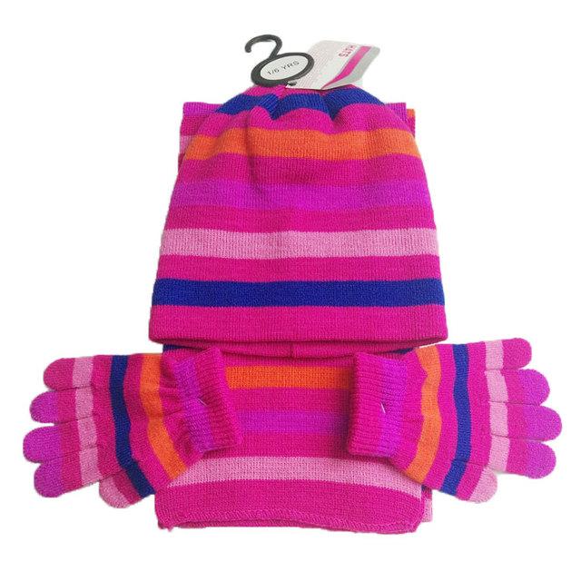 Custom children girls popular pink acrylic Jacquard winter knitted cute hat  scarf glove set d1070bd580ae