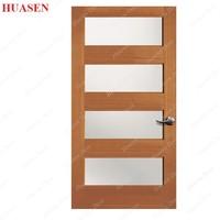 Interior 4 panels design pine color solid wood door