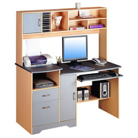 Space Saving Computer Desk Wooden Desk Bookcase Combination
