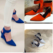 2015 Fashion Brand High Heels Women Pumps Sexy Pointed Toe Wedges Sandals Fashion Black Blue Orange White Women Shoes Summer