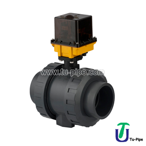 PVC UH True Ball Valve For Acid, With Electric Actuator Two Side Female Threaded(24V DC)Emergency Manual Control