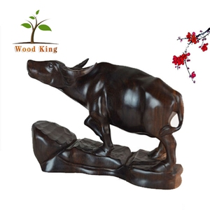 Myanmar Black Rosewood Relief Cow Red Wood Carvings Wholesale Animals Animal Ornament Craft Supplies Wood