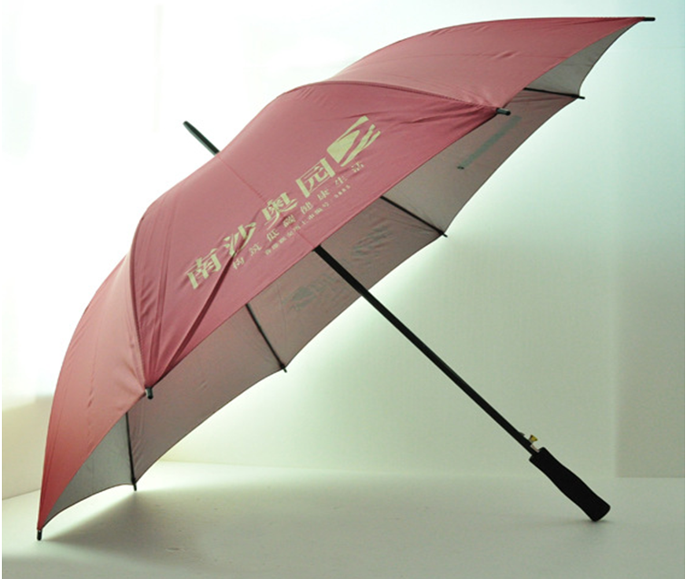 "Red UV coating 27"" advertise metal shaft and ribs golf umbrella for promotion"
