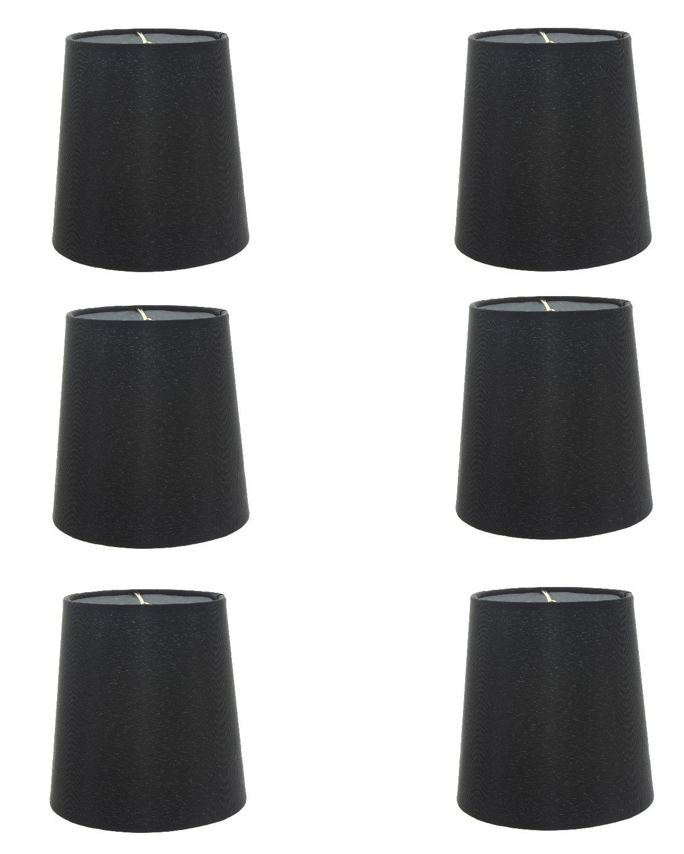 Upgradelights Set of 6 Silk Chandelier Lamp Shades 5 Inch Euro Style Drum Black Silk 4x5x5