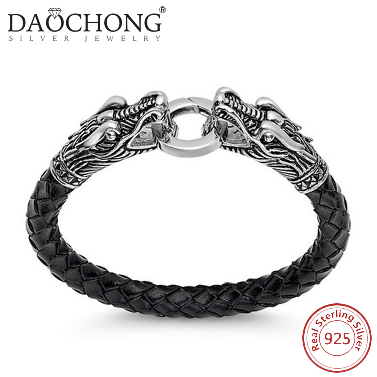 Manufacturers Wholesale men Style Braided Black Leather silver bracelet dragon