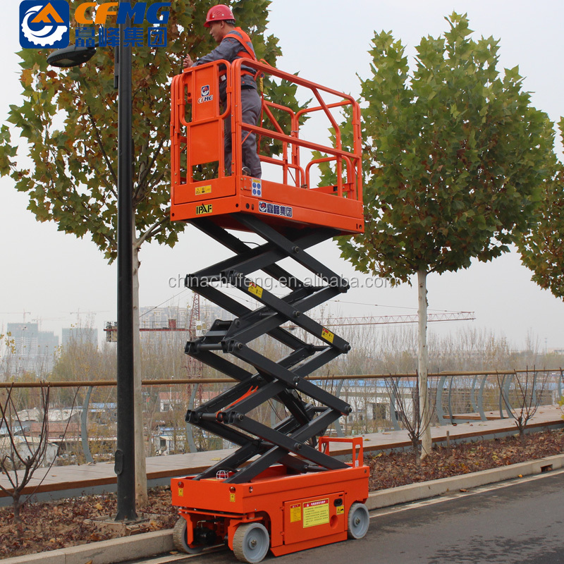 4m 6m 200kg shandong chufeng drive motor electric battery power mini small hydraulic vertical man scissor lift for sale