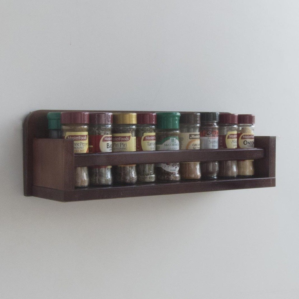Wooden Spice Rack – Open Top – 1 Tier – Wooden Bar – 18 Herb and Spice Jars - Walnut