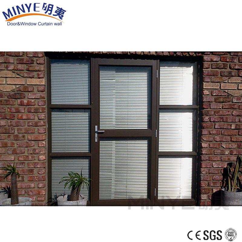 Sunshade Design Aluminum Shop Door Commerical Glass Door With Blinds