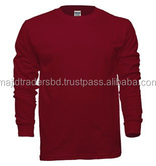 export quality o neck made in bangladesh branded quality unisex long sleeve  t-shirt