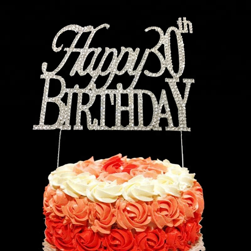 Monogram Crystal Rhinestone Happy Birthday 30th Anniversary Cake Topper