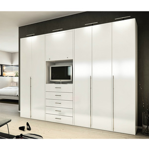 Custom Modern Design Tv Cabinet Bedroom Wardrobe White Wardrobe With Tv Cabinet