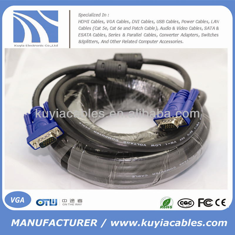 HD15 Pin Male to Male PC Laptop VGA SVGA Monitor Cable