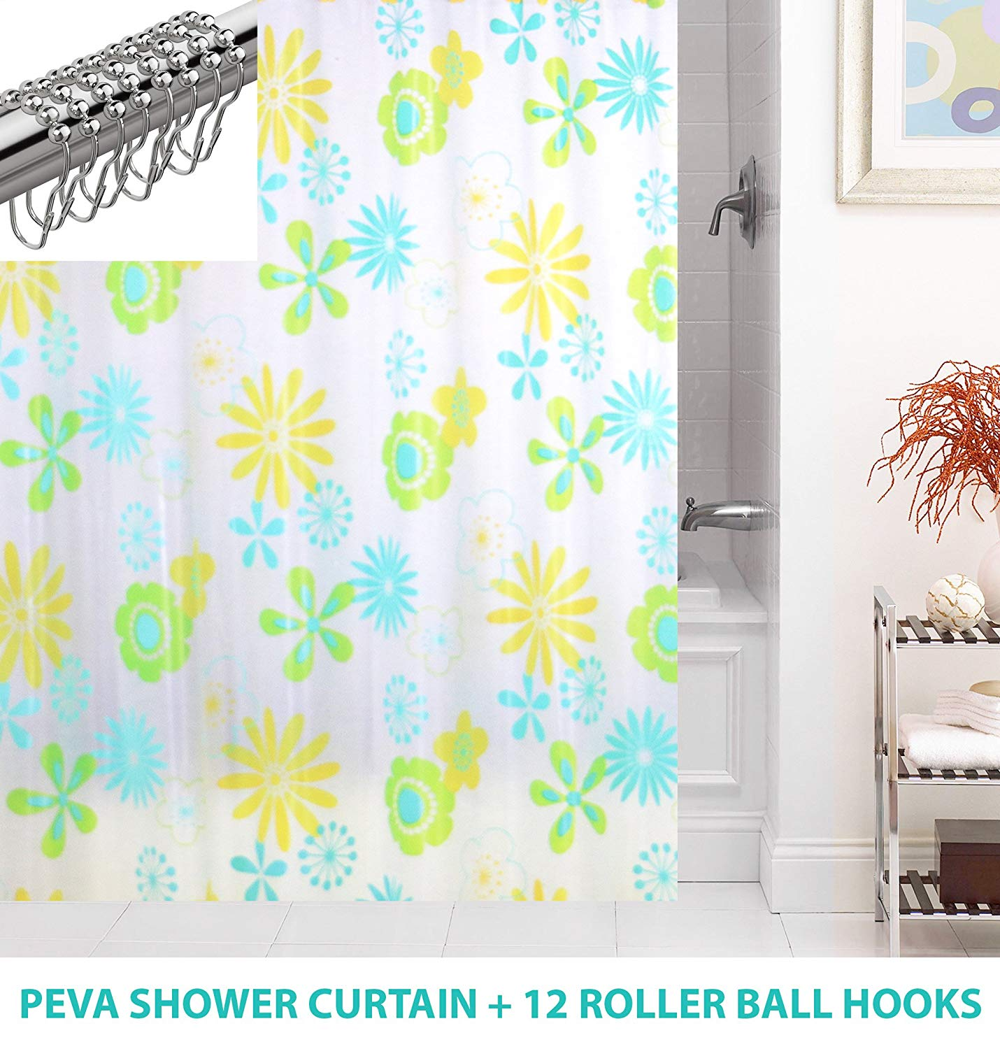 Get Quotations HB Home Shower Curtain Set PEVA Liner 12 Steel Hooks