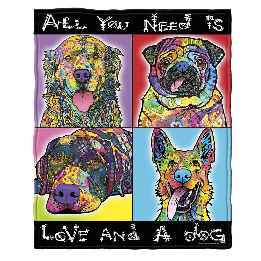 Dean Russo Love and a Dog Golden Retriever German Shepherd Pug Savvy Lab Fleece Throw Blanket