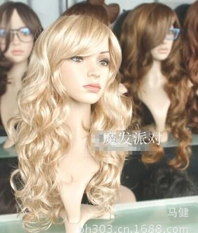 Горячий стиль! Парик новинка очарование женская золотой блондинку из натуральных волос