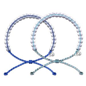 Transparent Glass Beads Adjustable Cord  Beads  Wristband Women 4 Oceans Bracelet