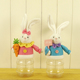 Wholesale Easter Decoration Blue Pine Rabbit Gift Candy Jar 9 inch Easter Bunny Plastic Candy Jar