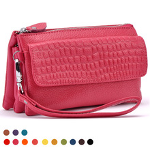 2016 New Designer Female Real Genuine Leather Wallet Sac Women Cosmetic Mobile Phone Bag Ladies Clutch Coin Holder Purse QB143
