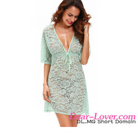 Dear-lover www six photo com Bluish Green See-through Lace Cover Up Dress