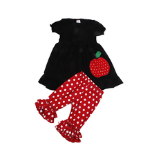 Girls Solid color dress and red dot print shorts. children clothing wholesale