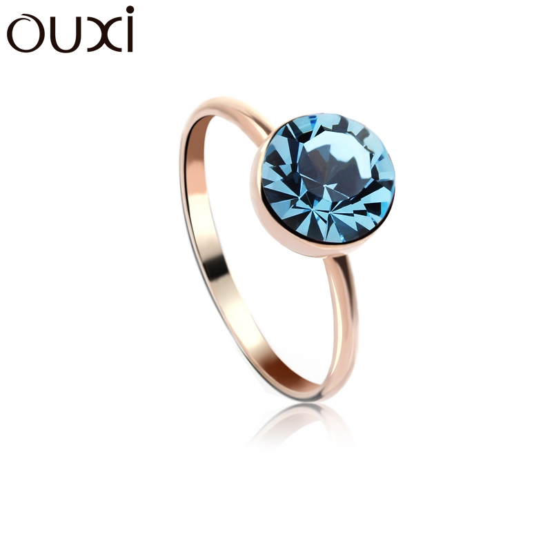 OUXI Female Fashion Gold Jewelry 2018 New Model Round Blue AAA Cubic Zircon Engagement Wedding CZ Ring