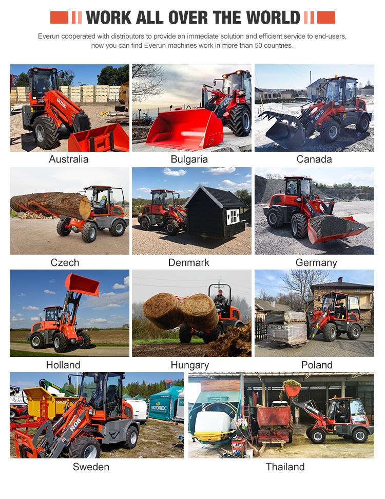 EVRUN ERT1500 China pequeno jardim agrícola 4 rodas motrizes com mini carregador da extremidade dianteira telescópica carregadoras de rodas para venda