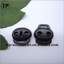 Black plastic/nylon spring end stopper for garment cord end