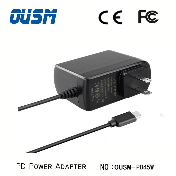 Type C PD Charger 45W 5V-20V Usb Fast Wall Charger Power Adapter For Mobile